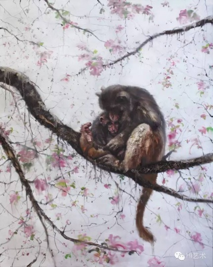 李天兵 《树上的母猴与孩子》 198 x 157.5 cm 亚麻布面油画 2014