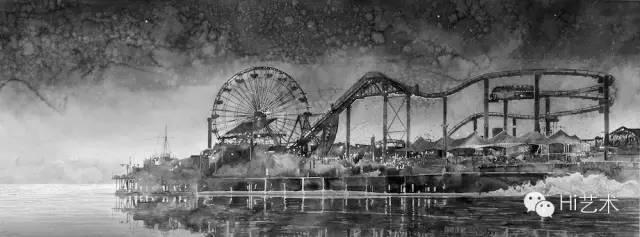 汉斯·欧普·德·贝克 《游乐园 天际线》 118 x300.5cm 黑白水彩、手工纸、木框 2014