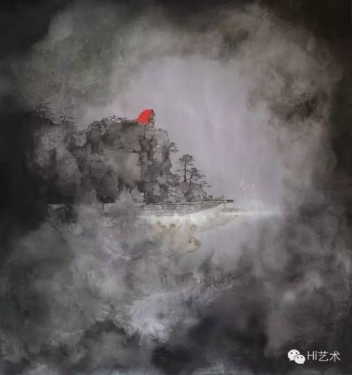 何振华《渡江计划2015之十九》78×73cm 丝面水墨 2015