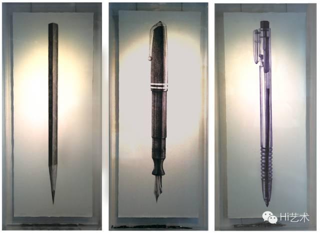 沈少民 《我用自己画自己》 102 x 224 cm x 3纸、铅笔、钢笔、圆珠笔 2013
