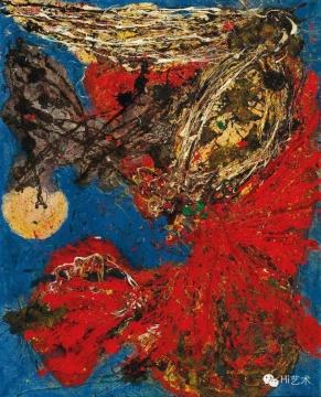 今井俊满《融化的太陽》160.5 x 129cm 布面油彩 碎石 1963 估价:350至550万港元