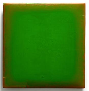 苏笑柏 《一绿》 154×148×12cm 油彩、大漆、麻、木 2014