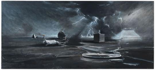 贾蔼力 《无题》89×200cm布面油画 2015