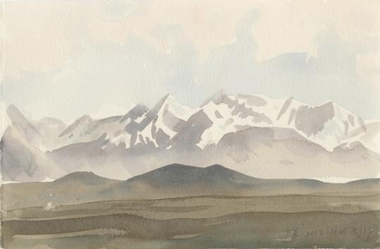 《戈壁雪山》28.3×18.6cm水彩171-622012