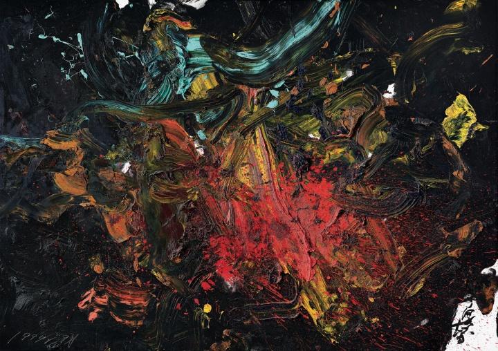 白发一雄 《秘火》布面油画 185x262.5cm 1999年作 为何式家族集团于保利香港2015年春季拍卖会上购得