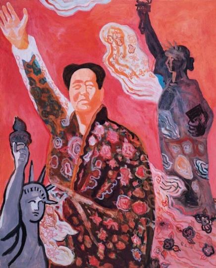 余友涵《毛主席和自由女神像》油彩画布110x90cm1995年 何式家族集团于保利香港2015年春季拍卖会上购得