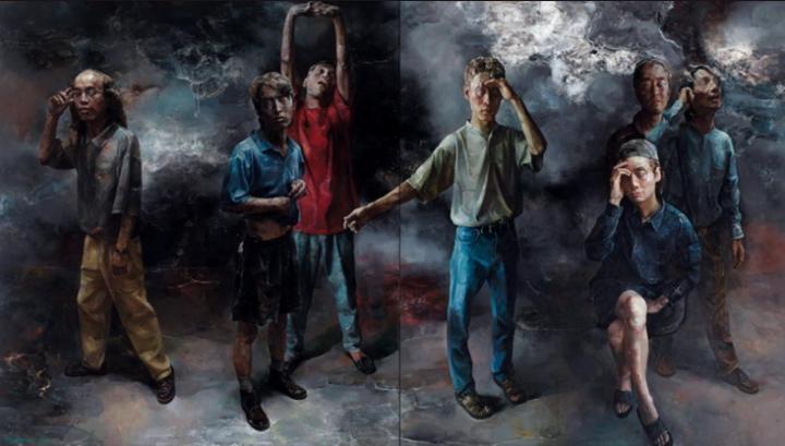 范勃 《疑是故人归》(两联作)175×157cm×2 布面油画 1999 成交价:172.5万元 中国嘉德秋拍