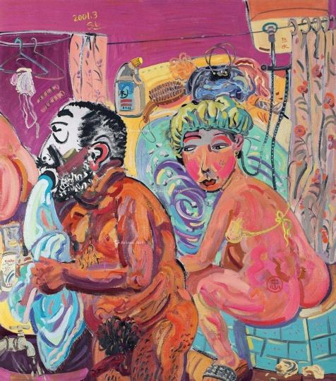 申玲《注水》 202×186 cm 布面油画 2001 成交价:24.15万港元 上海泛华秋拍