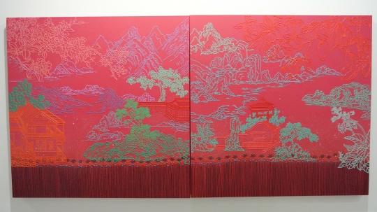 高思桦 《红色的风景》150×150cm×2 布面丙烯 2015 推荐人:王春辰