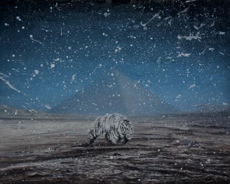 赵博 《荒原--疲惫的行者》 160x200cm 综合材料2013