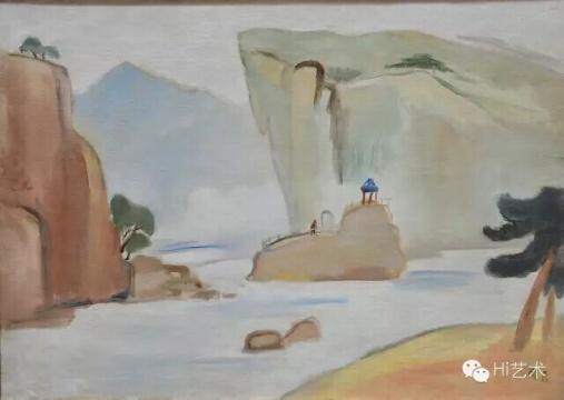 关良《山水凉亭》 57x80cm 油彩画布 1940