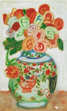 梅原龙三郎 《 蔷薇图 》 65.4x39.5cm 油彩 1940 东京国立近代美术馆藏