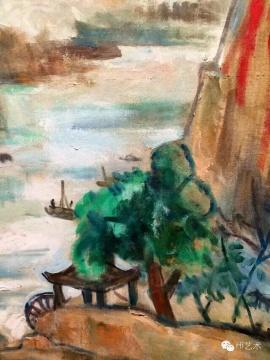 《石门》局部 。《石门》画的是陕西的石门洞,是关良根据抗战时赴西北沿途写生稿重新创作的
