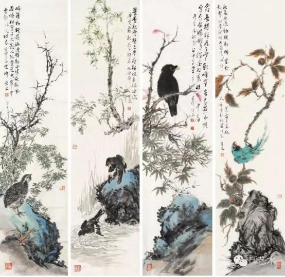 许宏泉 《花鸟》 136×34cm×4 纸本