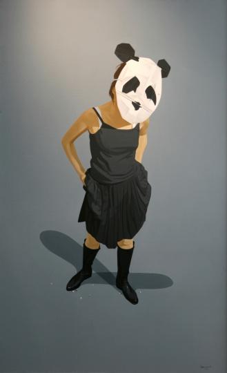 酒店二层宴会厅迎宾区郭伟油画《熊猫》之一