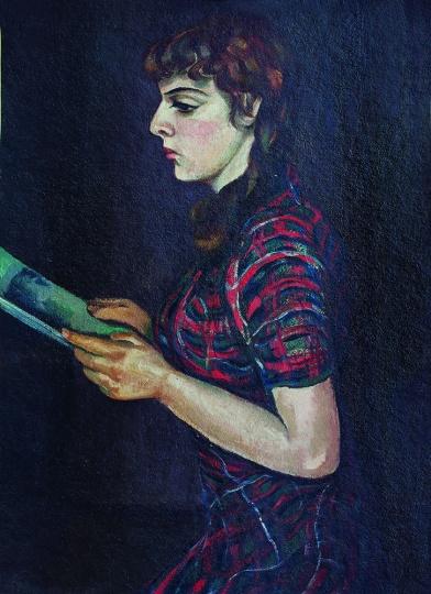 王济远《读书少女》101.5×75.7cm 木板油画