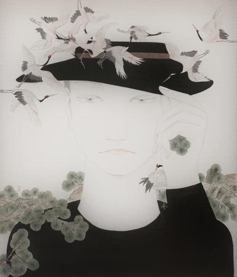 《栖鹤》 40×34cm 绢本设色 2015