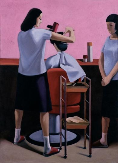 耿建翌《85年夏季第一个进入美容厅的女人》184.5×134.5cm,1992年由艺术家复制。                 香港保利2015秋季拍卖会《中国及亚洲现当代艺术专场》LOT212,图录名称为《耿建翌1986年作理发》