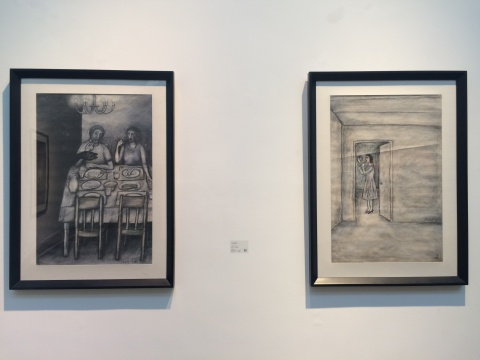 Jose Lepaspi 《无题1(双人)》、《无题1(单人)》91X61cmX2 炭笔绘画 2008