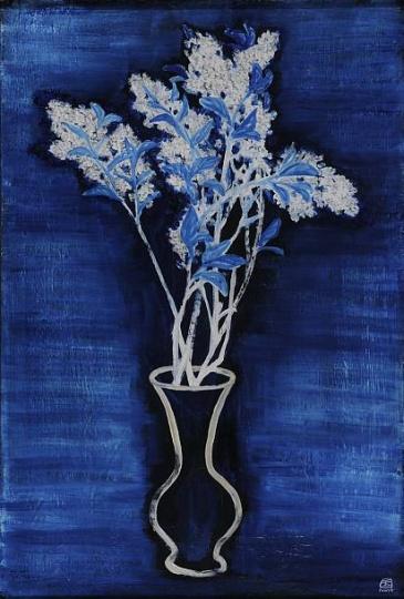 常玉《蓝色背景的盆花》 72.5 x 46.5cm布面油画1956  北京保利2016春拍