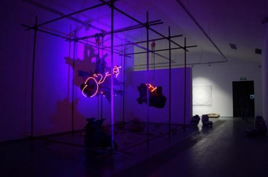 艺术家梁绍基装置作品,用悬挂表现了自然与生态岌岌可危的关系。