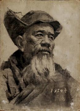 蔡亮《农民》 30×22cm 木板素描 1954