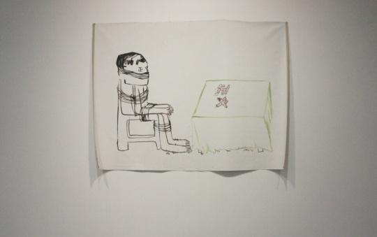 《正义(椅子 人 桌子)》 布面丙烯 172×228cm 2015