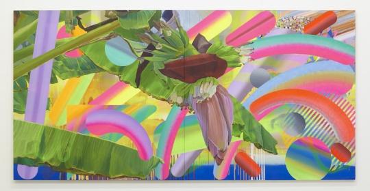 大野智史 《蜜月热海》 145.5x291cm 布面油画、喷绘 2015