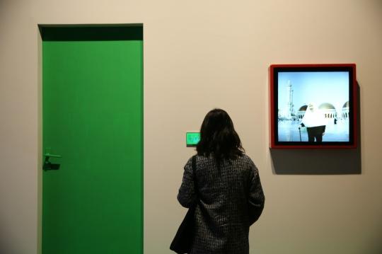 《Hello,World》 辛云鹏 装置、门、抠像绿漆、合成照片、录像 2016年