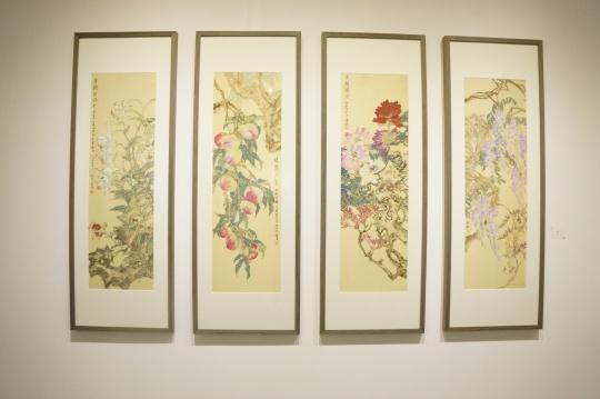 李雪松 《瑞花四屏 》136×34cm×4 绢本 2016