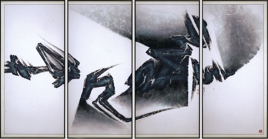刘国松 《宇宙即我心之四(四联作)》 182×346cm 设色纸本 1998 成交价:668万港币 由亚洲艺商竞得