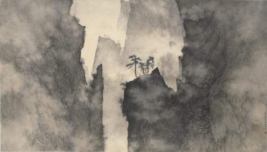 李华弌 《天涯之上》84×147.8cm 水墨纸本 2008 成交价:236万港币 由美国收藏家竞得