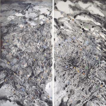 王无邪 《天地情之一(双联作)》200×200cm 设色纸本 2007 成交价:87.5万港币 由欧洲收藏家竞得