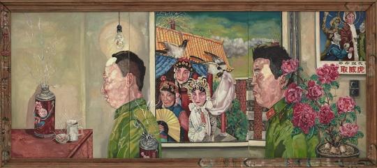 """刘炜 《革命家庭系列》(三联作) 172 × 381cm 布面油画 1994 估价:3000万至4000万港元 香港苏富比2016春拍 ——""""现当代亚洲艺术晚间拍卖"""""""