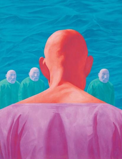 方力钧 《无题》 布面油彩 250 x 180cm 1995香港M+ 希克藏品(捐赠) 图片由艺术家及西九文化区管理局提供