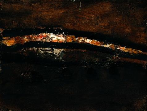 《麻黄梁长城》 20.5×27cm 布面油画 1999