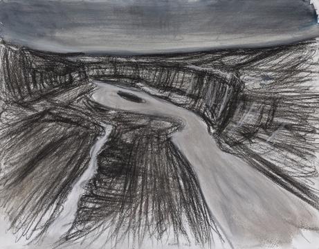 《讨赖河谷》 32×41cm 纸本水彩 2012