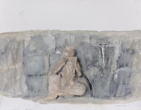 《巩义石窟寺浮雕》32×41cm 纸本水彩 2012