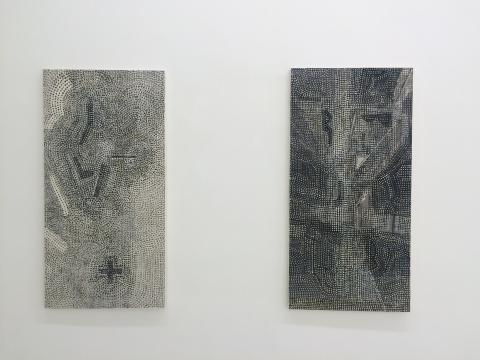 王劼音作品 《飘渺之一》、《飘渺之二》138× 70cm×2纸上水墨2014