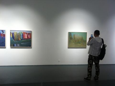 观众在展览现场拍摄图片