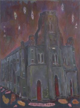 孔千 《火烧望海楼》 216×162cm 布面油画 2009