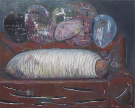 孔千 《十梦寒食帖》 155×193cm 布面油画 2008 这张作品是展厅放置的第一张画,可以很好地反映孔千作品中的问题意识