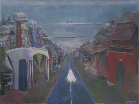 孔千 《走天丝》 162×216cm 布面油画 2009