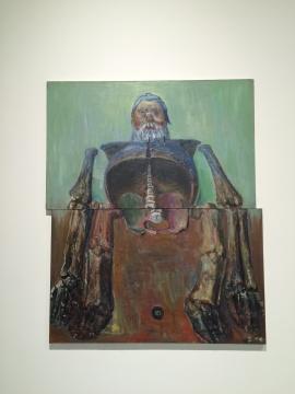 孔千 《骨架》 184×150cm布面油画 2005 这件作品是由两幅油画组合而成,但故意将作品错开放置