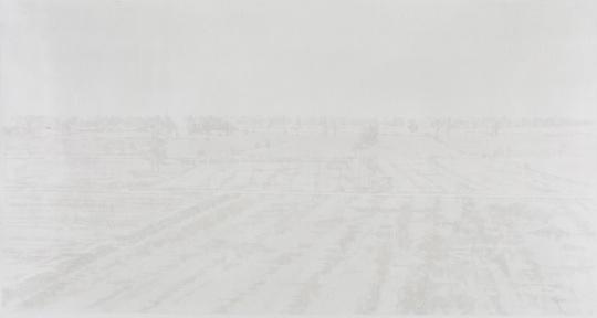韩冬 《北方以北-1》 77×145cm 皮纸水墨 2016