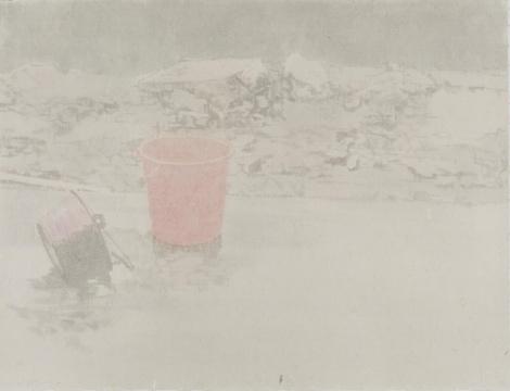 韩冬《 遗弃》59.5×78cm 皮纸水墨 2016
