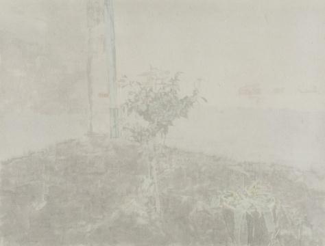 韩冬 《在墙角》59.5×78cm 皮纸水墨 2015