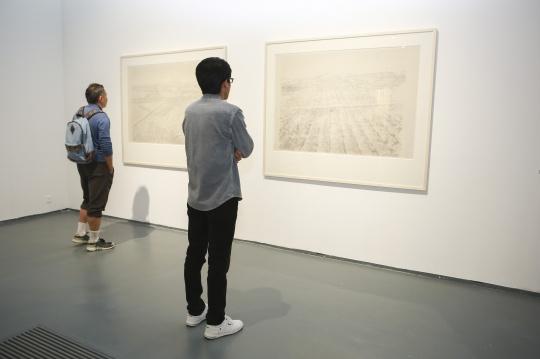 观众在韩冬北方以北系列作品前观赏