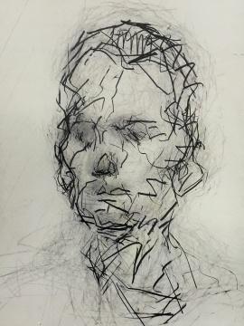 """奥尔巴赫的素描,留在纸面的,是""""一堆扭曲挣扎的线条"""