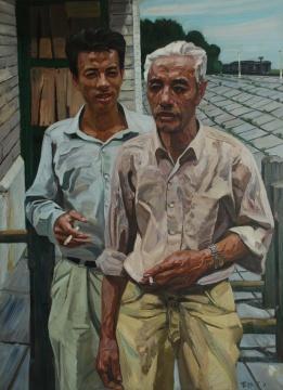 刘小东《父子情深》 130×397cm 油画 1989